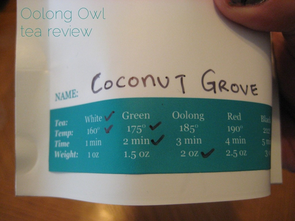 Coconut Grove from SteepCityTeas - Oolong Owl Tea Review (1)