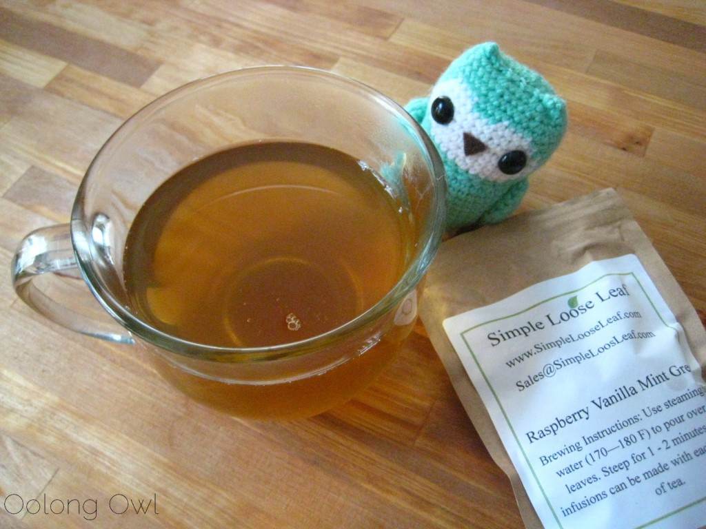 Raspberry Vanilla Mint Green tea from Simple Loose Leaf - Oolong Owl Tea review (4)