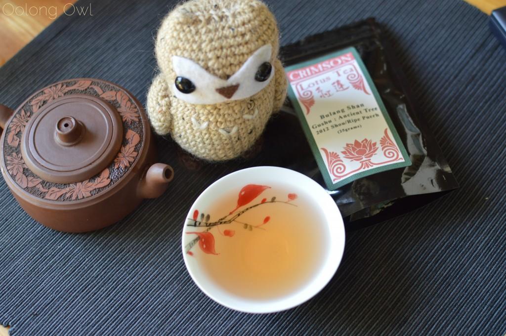 2012 bulang gushu ripe pu'er crimson lotus tea oolong owl